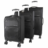 Eurotravel 4- Rollen Koffer Set 3- teilig schwarz Superlight